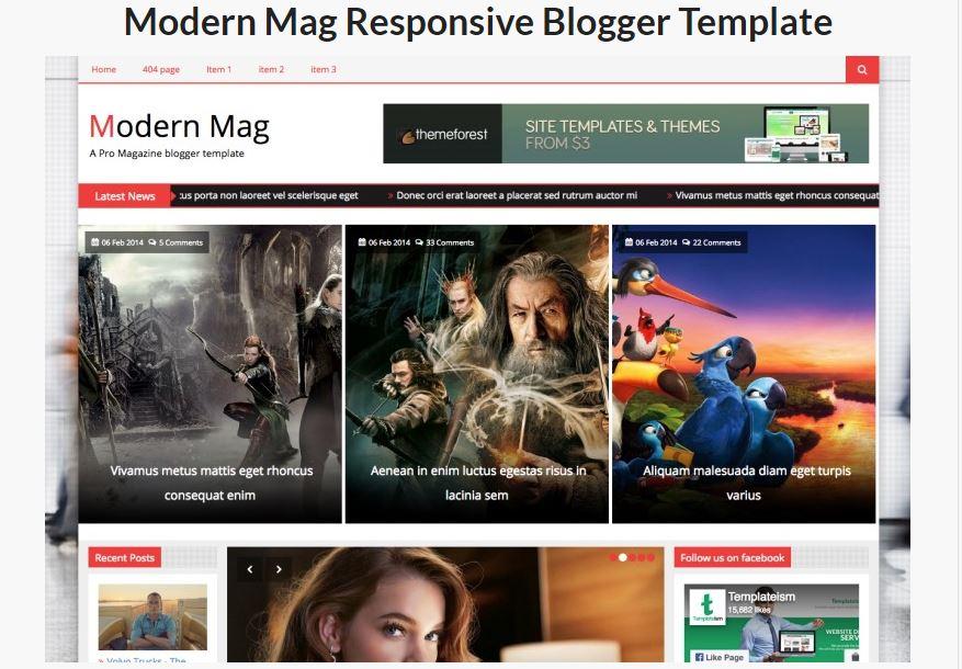 modern mag responsive blogger template
