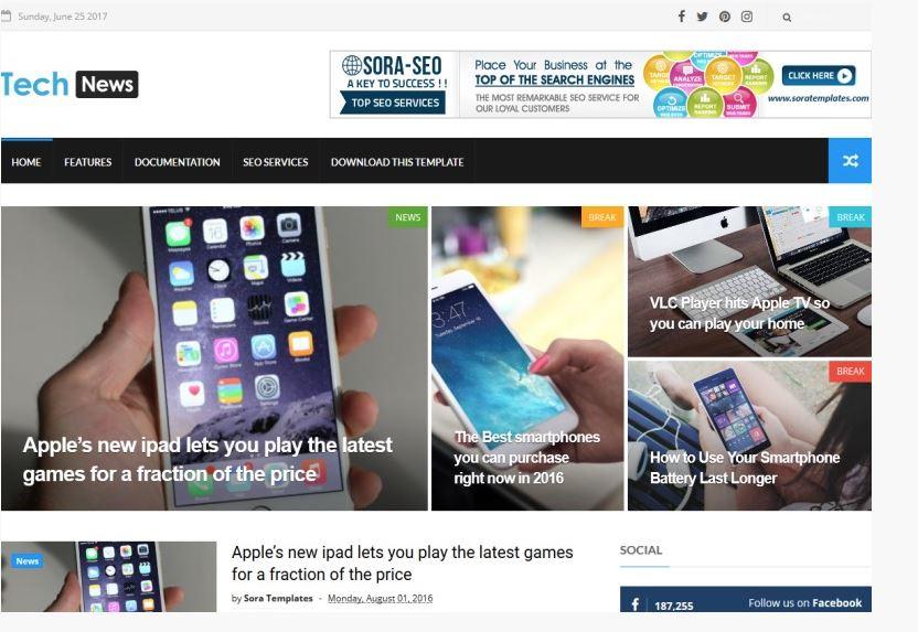 tech news ücretsiz blogger temaları